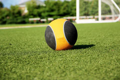 10-Pfund-Medizinball auf einem grünen Rasenfeld Stockbilder