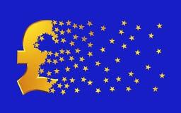 Pfund-Sterling Sign Falling Apart To-Goldsterne über blauem Hintergrund Lizenzfreie Stockfotos