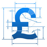 Pfundsymbol mit Maßlinien Stockfotografie