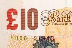 Pfundwährungshintergrund - 10 Pfund Stockbild