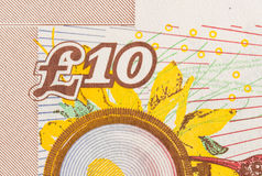 Pfundwährungshintergrund - 10 Pfund Lizenzfreies Stockfoto