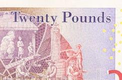 Pfundwährungshintergrund - 20 Pfund Stockfotografie