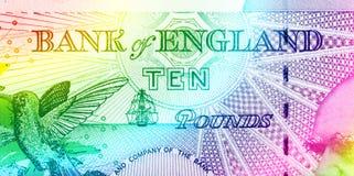 Pfundwährungshintergrund - 10 Pfund - Regenbogen Lizenzfreies Stockbild