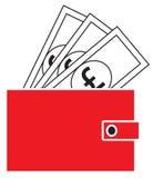 Pfundwährungsikone oder -logo auf Anmerkungen, knallend aus einer Geldbörse heraus Lizenzfreie Stockfotos