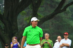 PGA golfer Phil Mickelson. American golfer Phil Mickelson reacts after putting the ball at the country clubs PGA golf event Royalty Free Stock Image