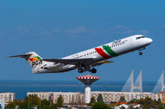 PGA Portugalia Airlines Fokker 100 Stock Photography