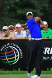 PGA Pro golfer Tiger woods. Tiger Woods swings his golf club at the country club event Stock Photos
