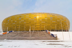 PGE Arena stadium in Gdansk. GDANSK, POLAND - FEBRUARY 4: Newly built PGE Arena stadium for 43,615 spectators. The stadium was built specifically for the Euro Royalty Free Stock Images