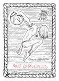 Pge of pentacles. The tarot card. Stock Image