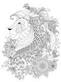 Página adulta da coloração do leão Imagem de Stock