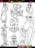 Página ajustada da coloração dos desenhos animados dos povos retros Imagens de Stock Royalty Free