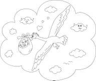 Página da coloração da cegonha dos desenhos animados Fotos de Stock