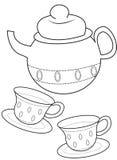 Página da coloração da xícara de chá Foto de Stock