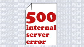 Página de Internet animado 500 do erro, erro de servidor interno, página do Livro Branco com mensagem de erro animado louca no ba vídeos de arquivo