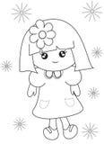 Página del colorante de la niña Imagenes de archivo