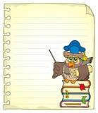 Página del cuaderno con el profesor 7 del búho Imagen de archivo libre de regalías
