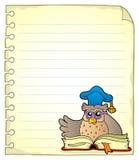 Página del cuaderno con el profesor 6 del búho Imagenes de archivo