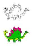 Páginas da coloração dos desenhos animados do dinossauro do Stegosaurus Fotos de Stock Royalty Free
