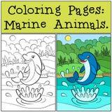 Páginas del colorante: Marine Animals Pequeño delfín lindo Imagen de archivo libre de regalías
