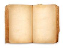 Páginas en blanco abiertas del libro viejo, papel amarillo vacío Fotos de archivo libres de regalías