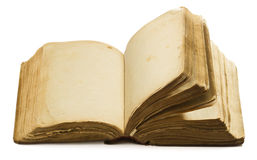 Páginas vazias velhas abertas do livro, papel amarelo vazio isolado no branco Fotos de Stock Royalty Free