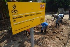 PGN breidt de Infrastructuur van de Aardgaspijpleiding in Semarang uit Royalty-vrije Stock Foto