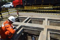 PGN expande a infraestrutura natural do gasoduto em Semarang Foto de Stock