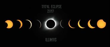 Phénomène 2017 d'éclipse totale photos stock