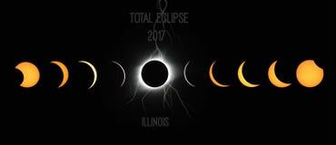Phénomène 2017 d'éclipse totale image stock