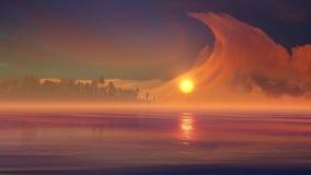 Phénomènes étranges de nuage au-dessus d'île tropicale Photographie stock libre de droits