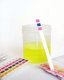 PH analysis of specimen. PH strip propped on specimen jar with comparison chart laying beside Stock Photography