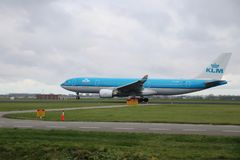 PH-AOF KLM Royal Dutch Airlines Airbus A330-203 is departing from Polderbaan. 18R - 36L on Amsterdam schiphol airport in the Netherlands royalty free stock photography