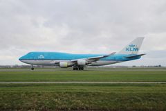 PH-BFB KLM Royal Dutch Airlines Boeing 747-406 is departing from Polderbaan. 18R - 36L on Amsterdam schiphol airport in the Netherlands royalty free stock photo