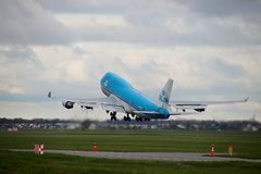 PH-BFB KLM Royal Dutch Airlines Boeing 747-406 is departing from Polderbaan. PH-BFB KLM Royal Dutch Airlines Boeing 747-406 is departing from Polderbaan 18R royalty free stock photography
