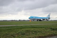 PH-BFG KLM Royal Dutch Airlines Boeing 747 is departing from Polderbaan. 18R - 36L on Amsterdam schiphol airport in the Netherlands royalty free stock image