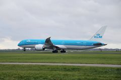 PH-BHO KLM Royal Dutch Airlines Boeing 787-9 Dreamliner is departing from Polderbaan 18R - 36L on Amsterdam schiphol airport in.  royalty free stock image