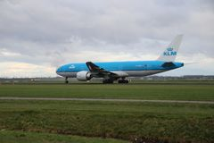 PH-BQA KLM Royal Dutch Airlines Boeing 777 is departing from Polderbaan. 18R - 36L on Amsterdam schiphol airport in the Netherlands royalty free stock photos