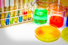 PH buffer for use prepare the biochem for identified pathogen in. Microbiology room Stock Photo