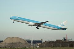PH-BVN KLM Royal Dutch Airlines Boeing 777-306 departs from the Kaagbaan. 06-24 of Schiphol Amsterdam The Netherlands royalty free stock photo