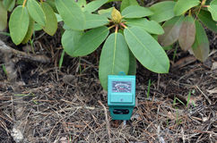 PH-meter in the garden. Royalty Free Stock Photos