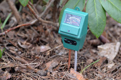 PH-meter in the garden. Stock Photo