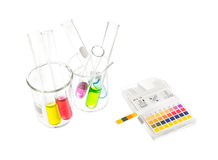 PH paper indicators and tube with pH values Stock Image