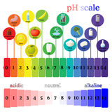 PH scale.  Litmus paper color chart. PH scale diagram with corresponding acidic or alcaline values for common substances, food, household chemicals . Litmus Stock Photography