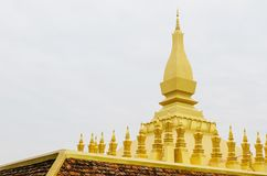 Pha dat Luang of Grote Stupa het Één Aantrekkelijke Oriëntatiepunt van Vientiane, Laos zijn stock fotografie