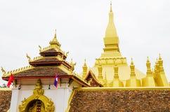 Pha dat Luang of Grote Stupa het Één Aantrekkelijke Oriëntatiepunt van Vientiane, Laos zijn royalty-vrije stock foto's