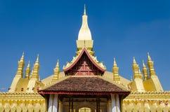 Pha dat Luang of Grote Stupa het Één Aantrekkelijke Oriëntatiepunt van Vientiane, Laos zijn stock foto's