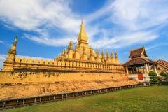 Pha den Luang (den Luang Stupa), Vientiane, Laos Arkivfoto