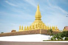 Pha die Luang-Tempel, de Gouden Pagode in VIENTIANE, LAOS PDR Het beroemdste oriëntatiepunt van LAOS royalty-vrije stock foto