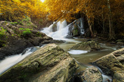 Pha kluay mai waterfall in khoa yai national park in thailand. Beauty place to travel Royalty Free Stock Photos