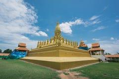 Pha Luang是大佛教stupa 老挝万象 库存照片